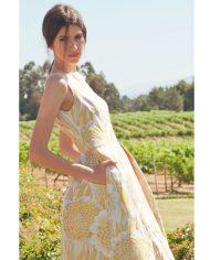 vestido-jacquard-amarillo-largo-campana-