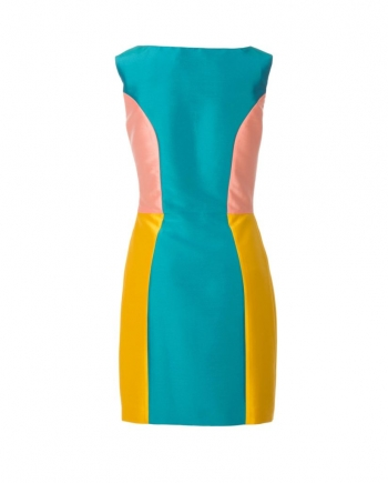 Vestido satén tricolor corto, vista trasera