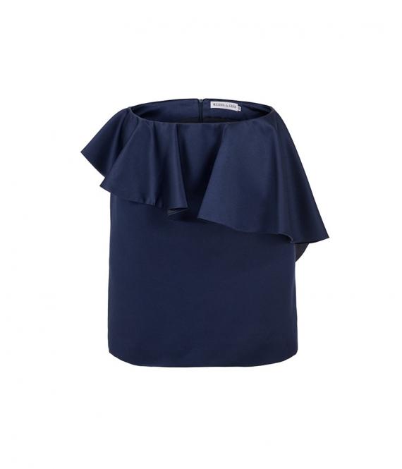 Falda mini con volante azul marino