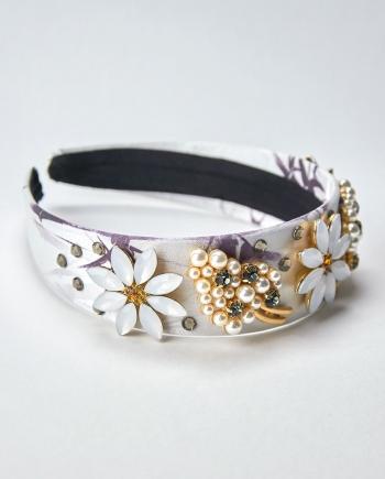 Diadema joya con base de raso estampado