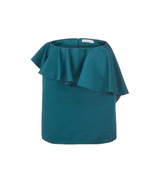 Falda mini con volante en verde turquesa