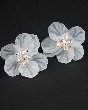 Pareja de pendientes flor de cristal blanco