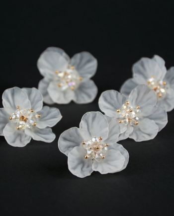 Pendientes flor de cristal blanco sobre fondo negro