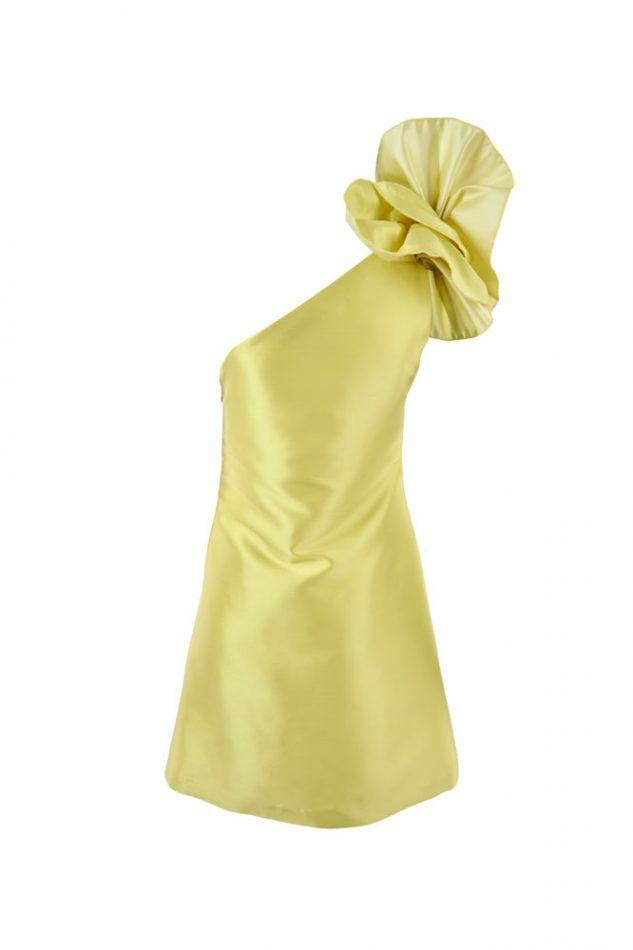 Vista trasera vestido asimétrico de satén Gloria