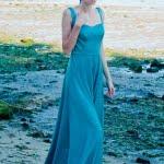 Vestido satén verde agua