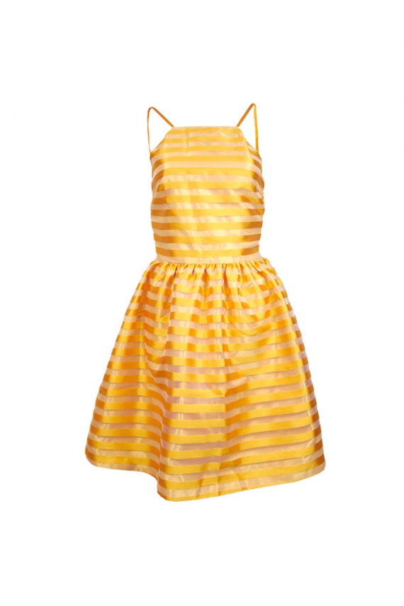 Vestido de rayas de organza amarillo