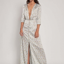 Vestido largo estampado de manga francesa
